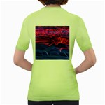 Lights Abstract Curves Long Exposure Women s Green T-Shirt Back