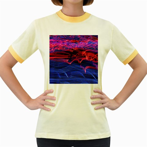 Lights Abstract Curves Long Exposure Women s Fitted Ringer T-Shirts