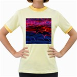 Lights Abstract Curves Long Exposure Women s Fitted Ringer T-Shirts Front