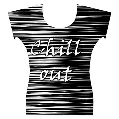 Black an white  Chill out  Women s Cap Sleeve Top