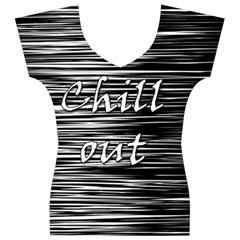 Black an white  Chill out  Women s V-Neck Cap Sleeve Top