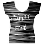 Black an white  Chill out  Women s V-Neck Cap Sleeve Top Front