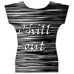 Black an white  Chill out  Women s V-Neck Cap Sleeve Top Back