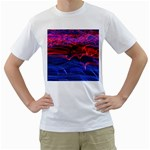 Lights Abstract Curves Long Exposure Men s T-Shirt (White) (Two Sided) Front
