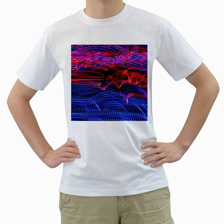 Lights Abstract Curves Long Exposure Men s T-Shirt (White) (Two Sided)