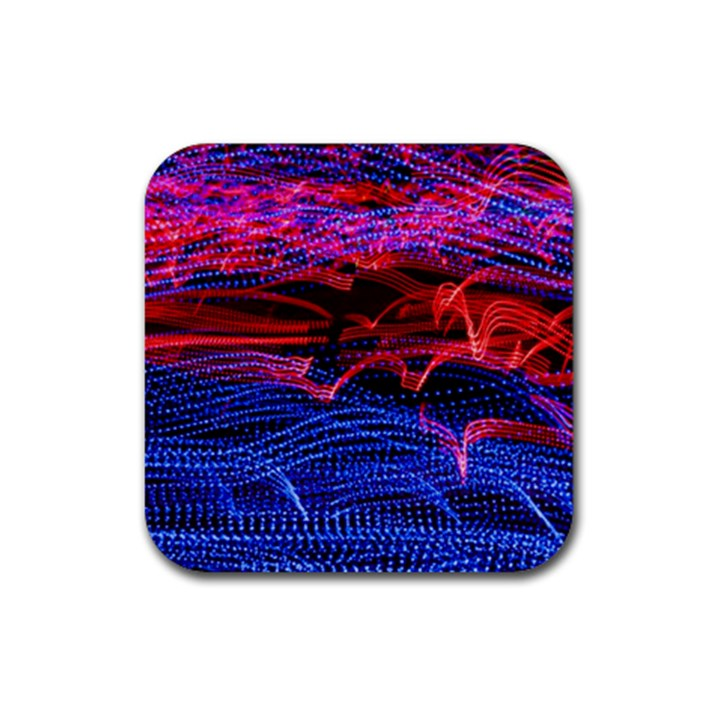 Lights Abstract Curves Long Exposure Rubber Coaster (Square)