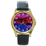 Lights Abstract Curves Long Exposure Round Gold Metal Watch Front