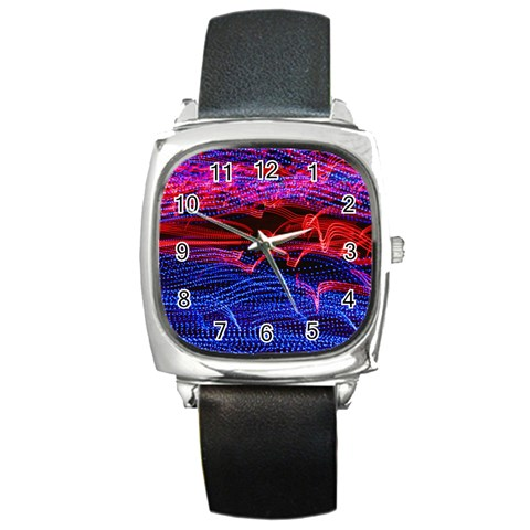 Lights Abstract Curves Long Exposure Square Metal Watch