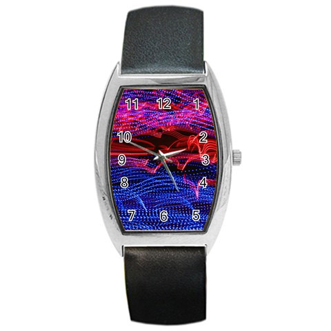 Lights Abstract Curves Long Exposure Barrel Style Metal Watch