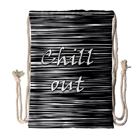 Black an white  Chill out  Drawstring Bag (Large)