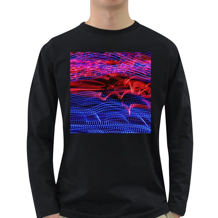 Lights Abstract Curves Long Exposure Long Sleeve Dark T-Shirts