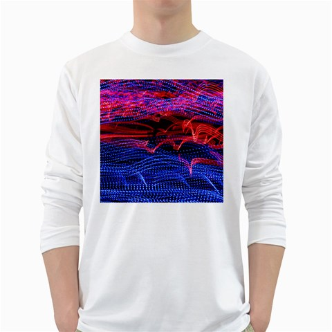 Lights Abstract Curves Long Exposure White Long Sleeve T-Shirts
