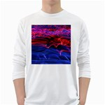 Lights Abstract Curves Long Exposure White Long Sleeve T-Shirts Front