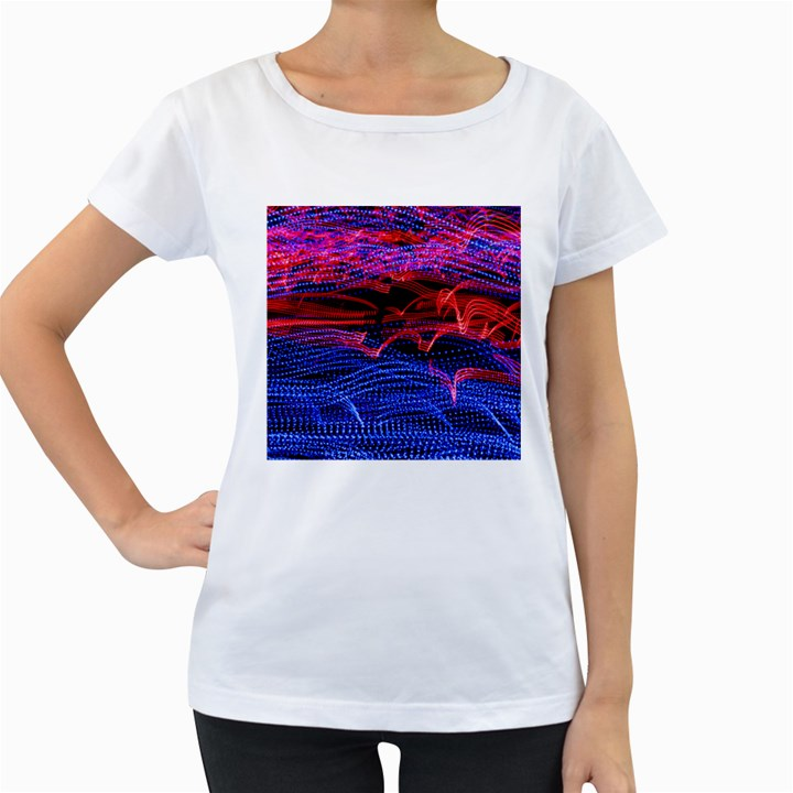 Lights Abstract Curves Long Exposure Women s Loose-Fit T-Shirt (White)