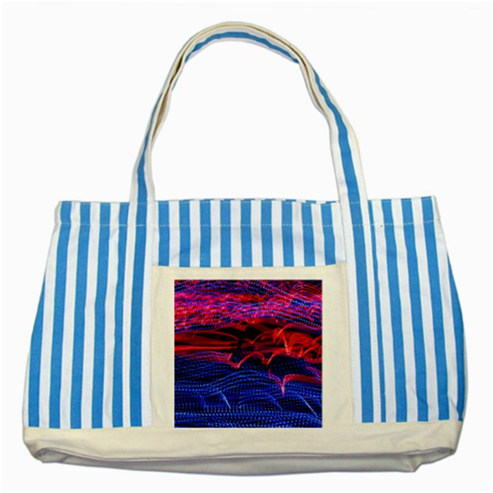 Lights Abstract Curves Long Exposure Striped Blue Tote Bag