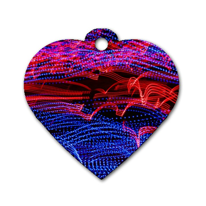 Lights Abstract Curves Long Exposure Dog Tag Heart (Two Sides)