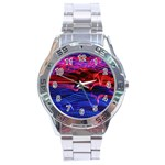 Lights Abstract Curves Long Exposure Stainless Steel Analogue Watch Front