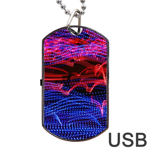 Lights Abstract Curves Long Exposure Dog Tag USB Flash (Two Sides)