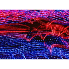 Lights Abstract Curves Long Exposure Birthday Cake 3D Greeting Card (7x5)