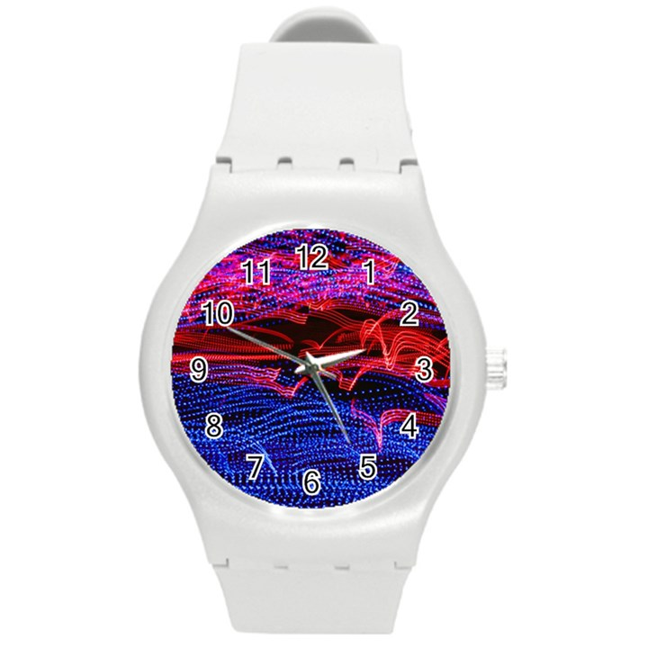Lights Abstract Curves Long Exposure Round Plastic Sport Watch (M)
