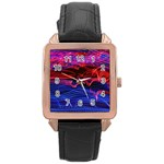 Lights Abstract Curves Long Exposure Rose Gold Leather Watch  Front