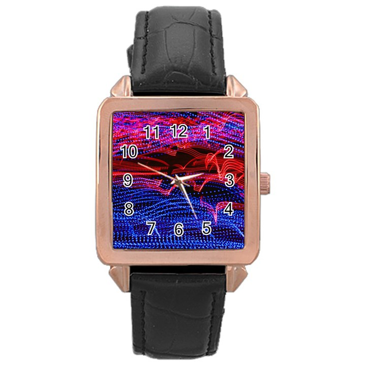 Lights Abstract Curves Long Exposure Rose Gold Leather Watch