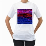 Lights Abstract Curves Long Exposure Women s T-Shirt (White)  Front