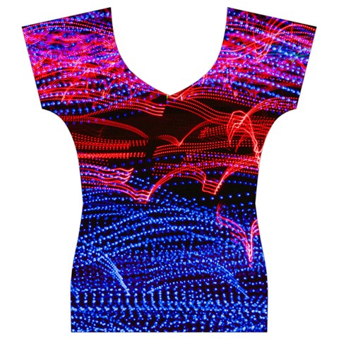 Lights Abstract Curves Long Exposure Women s V-Neck Cap Sleeve Top