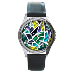 Mosaic Shapes Round Metal Watch