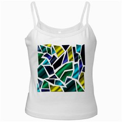 Mosaic Shapes White Spaghetti Tank