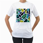 Mosaic Shapes Women s T-Shirt (White) (Two Sided) Front
