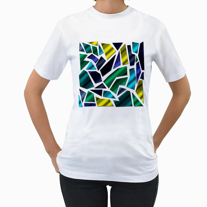 Mosaic Shapes Women s T-Shirt (White) (Two Sided)