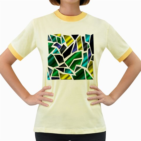 Mosaic Shapes Women s Fitted Ringer T-Shirts