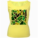 Mosaic Shapes Women s Yellow Tank Top Front
