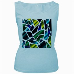 Mosaic Shapes Women s Baby Blue Tank Top