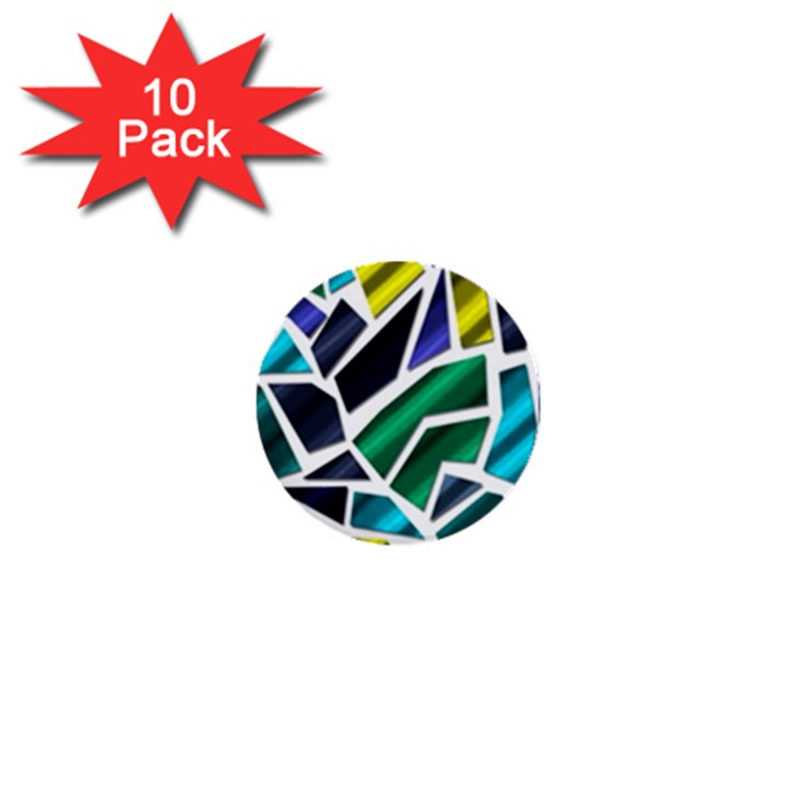 Mosaic Shapes 1  Mini Buttons (10 pack)