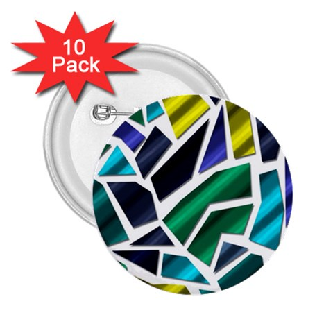 Mosaic Shapes 2.25  Buttons (10 pack)