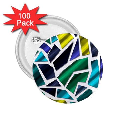 Mosaic Shapes 2.25  Buttons (100 pack)