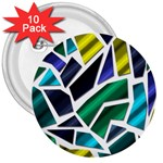 Mosaic Shapes 3  Buttons (10 pack)  Front