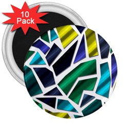 Mosaic Shapes 3  Magnets (10 pack)