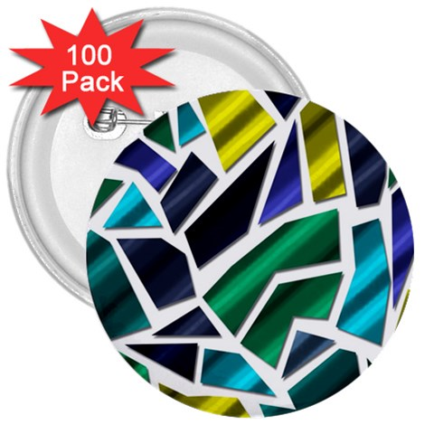 Mosaic Shapes 3  Buttons (100 pack)