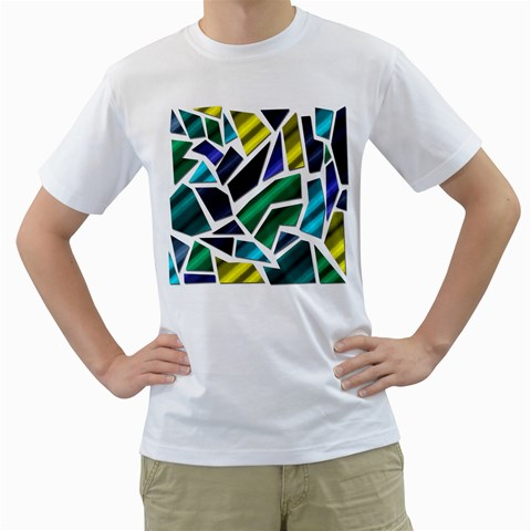 Mosaic Shapes Men s T-Shirt (White) (Two Sided)