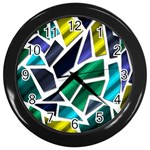 Mosaic Shapes Wall Clocks (Black) Front
