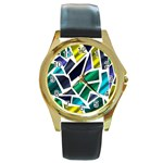 Mosaic Shapes Round Gold Metal Watch Front