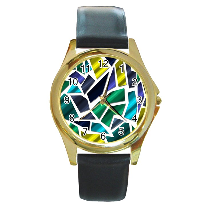 Mosaic Shapes Round Gold Metal Watch