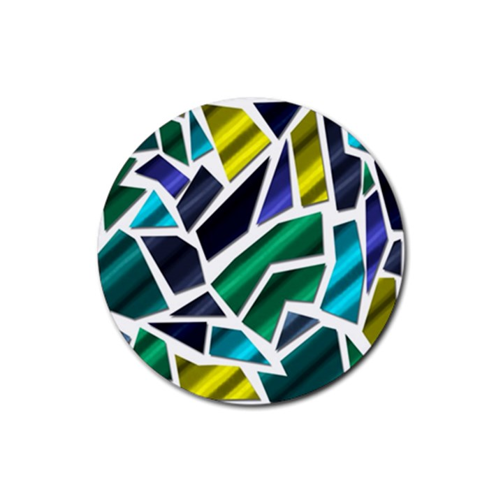 Mosaic Shapes Rubber Round Coaster (4 pack)