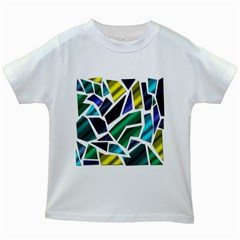 Mosaic Shapes Kids White T-Shirts