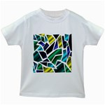 Mosaic Shapes Kids White T-Shirts Front