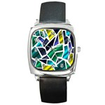 Mosaic Shapes Square Metal Watch Front