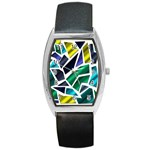 Mosaic Shapes Barrel Style Metal Watch Front